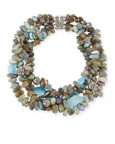 Four-Strand Labradorite & Blue Quartz Necklace