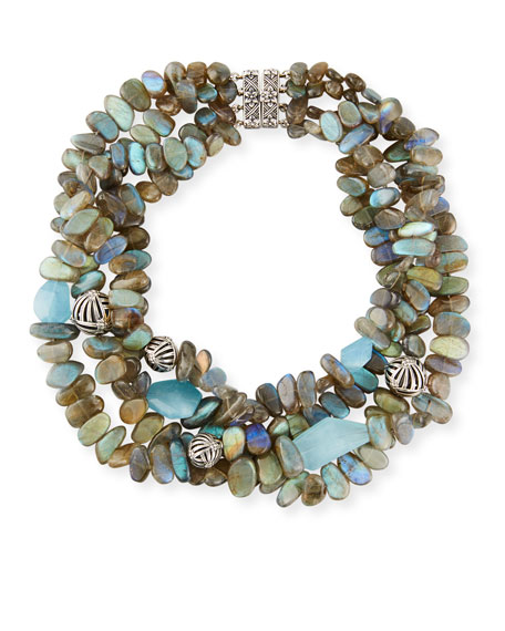 Four-Strand Labradorite & Blue Quartz Necklace
