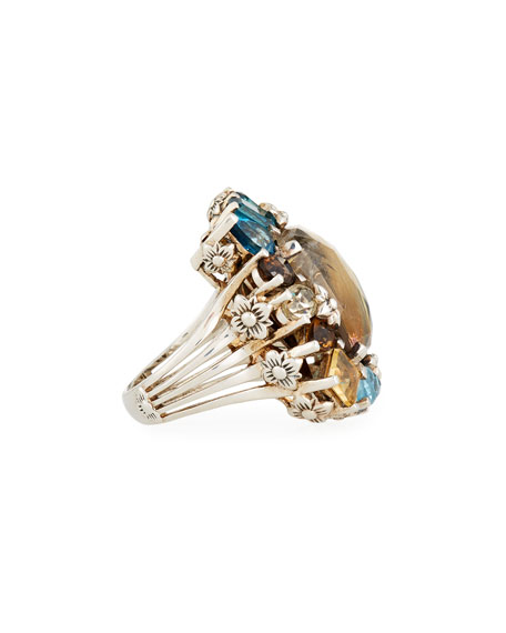 Rutilated Quartz Doublet Ring, Size 7