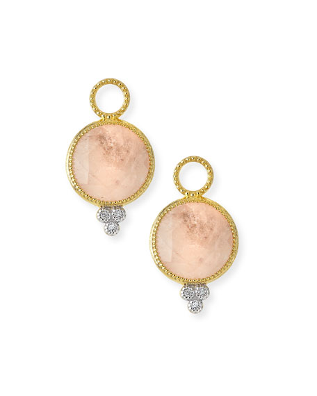 Jude Frances Provence Round Morganite Earring Charms with Diamonds QemgEwgV
