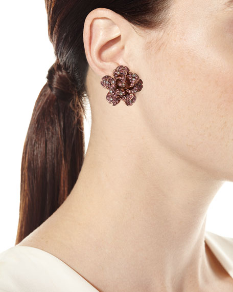 Crystal Rose Clip-On Earrings