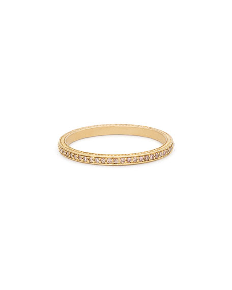 Thin Pavé Cognac Diamond Band Ring