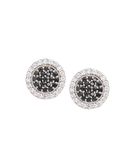 Scallop Pave Black & White Diamond Earrings