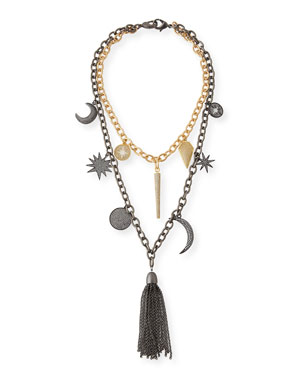Hipchik Barbara Chain Tassel Charm Necklace
