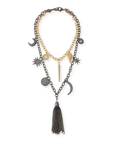 Barbara Chain Tassel Charm Necklace