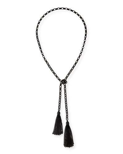 Rolo Matte Beaded Chain Lariat Necklace