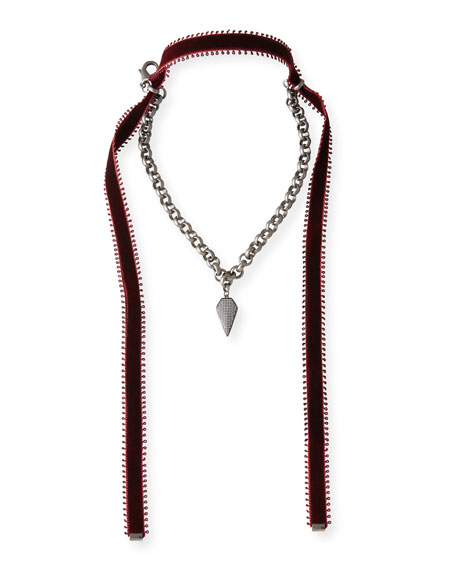 Alexa Crystal Pendant Necklace with Velvet Ties