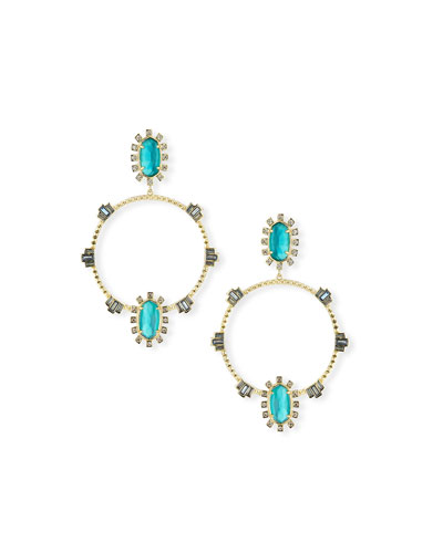 Gareth Open Hoop Drop Earrings in Golden-Tone Plate