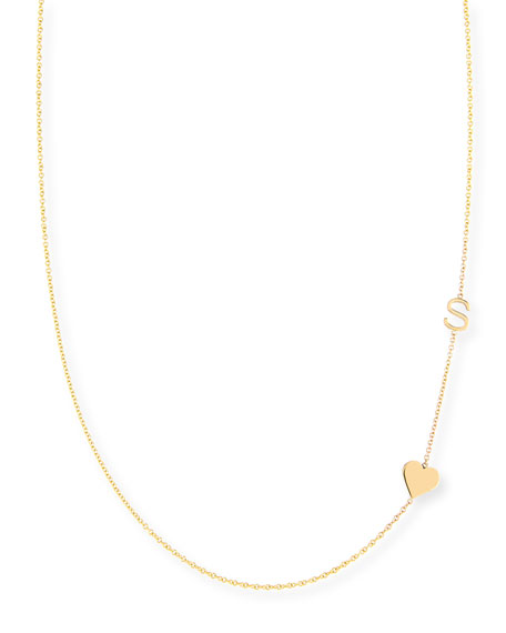 MAYA BRENNER DESIGNS Personalized Mini One-Letter & Heart Pendant Necklace in Gold