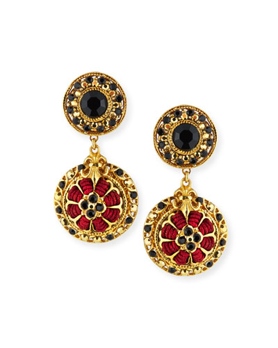 Black Austrian Crystal & Burgundy Cord Drop Earrings