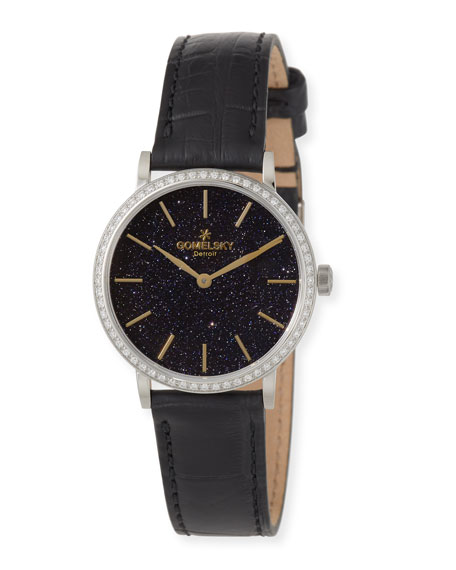 The Agnes Varis 32mm Sandstone Watch with Diamonds & Black Alligator Strap