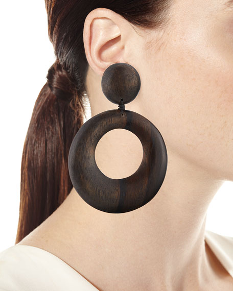Statement Wood Drop Earrings