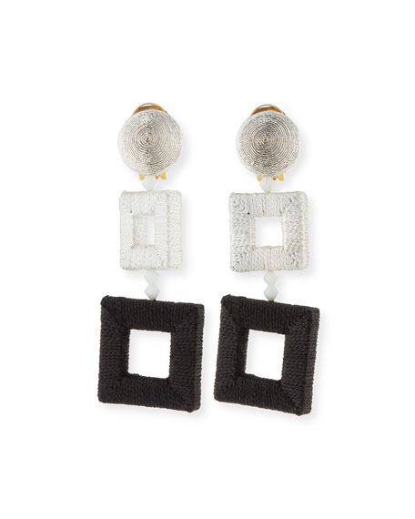 Oscar de la Renta Silk-Wrapped Double-Square Earrings
