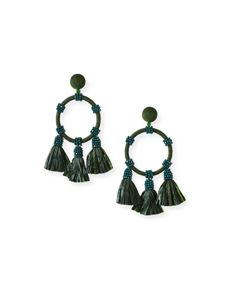 Oscar de la Renta Raffia Tassel Hoop Earrings