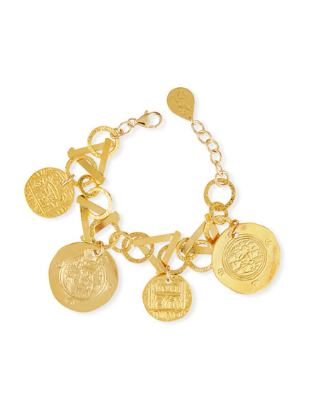 Golden Coin Charm Bracelet