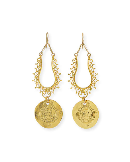 Devon Leigh Filigree Coin Drop Earrings