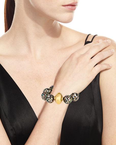 18k Gray Pearlescent Bead Bracelet