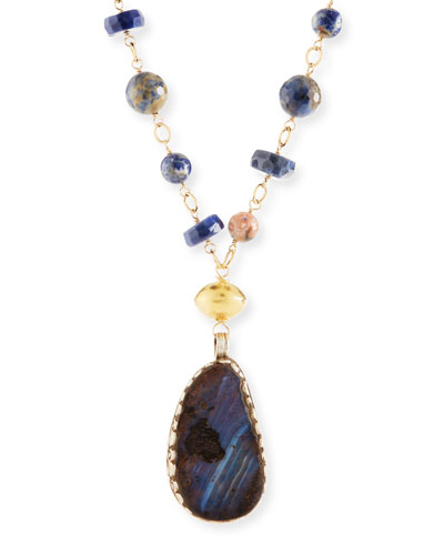 Long Lapis Opal Pendant Necklace