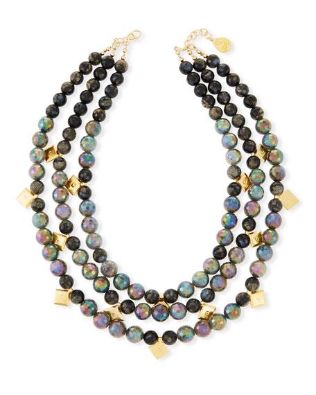 Three-Row Labradorite Beaded Necklace