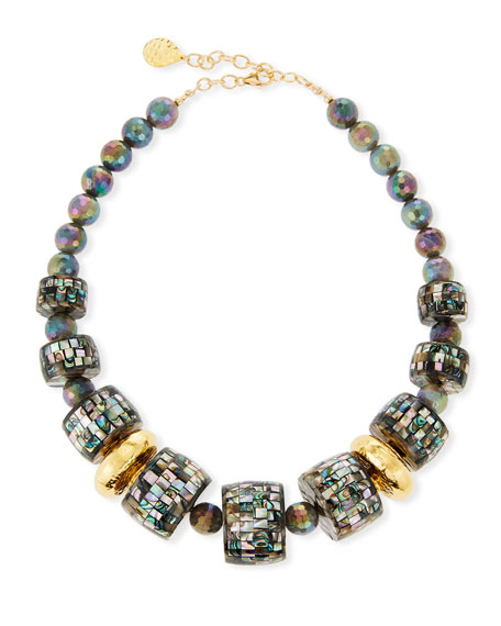 Devon Leigh Three-Row Labradorite Beaded Necklace
