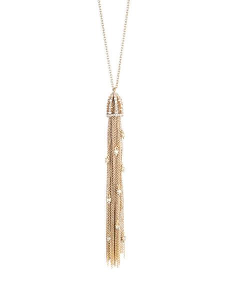 Alexis Bittar Cascading Crystal Tassel Pendant Necklace, Golden