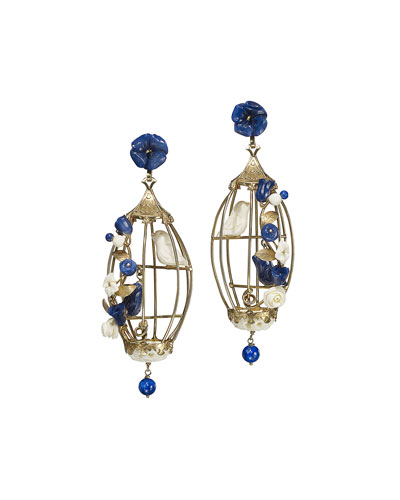 Aviary Lovebird Lapis & Pearl Birdcage Earrings