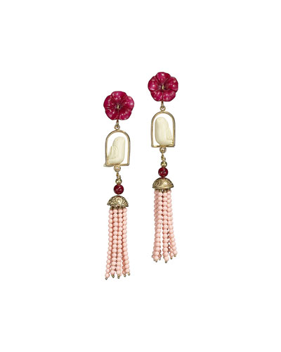 Swinger Beaded Tassel Drop Earrings, Coral
