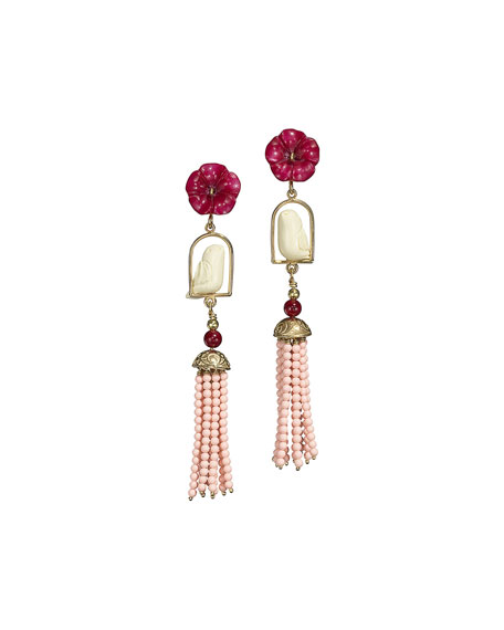 OF RARE ORIGIN Pink/White Swinger Beaded Tassel Drop Earrings