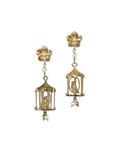 Pagoda Pearl Drop Earrings