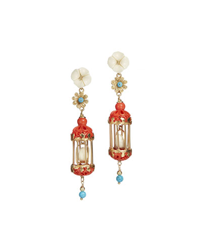 Aviary Classic Mini Drop Earrings, Coral