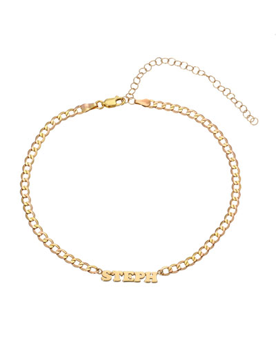 Personalized Cuban Link Choker Necklace with Name Plate in 14K Yellow Gold