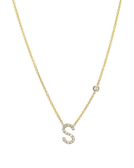 Zoe Lev Jewelry Personalized Diamond Initial & Bezel Necklace in 14K Yellow Gold