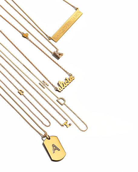 Zoe Lev Jewelry Personalized Asymmetric Two-Initial Necklace with Diamonds in 14K White Gold
