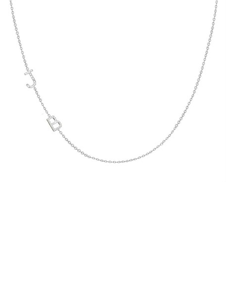 Personalized Asymmetric Two-Initial Necklace with Diamonds in 14K White Gold