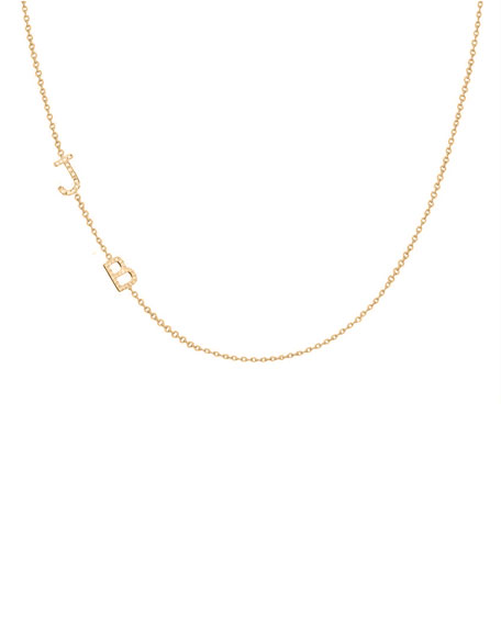 Zoe Lev Jewelry Personalized Asymmetric Two-Initial Necklace with Diamonds in 14K Yellow Gold