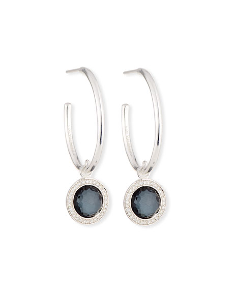 Hematite & Diamond Hoop Drop Earrings