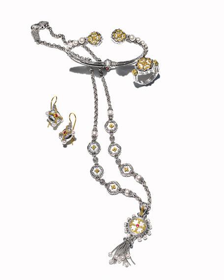Hestia Pearl & Ruby Drop Earrings