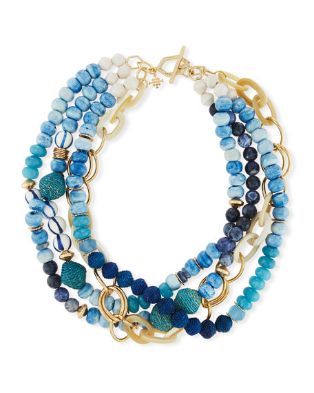 Akola Twisted Multi-Strand Necklace, Blue, 22