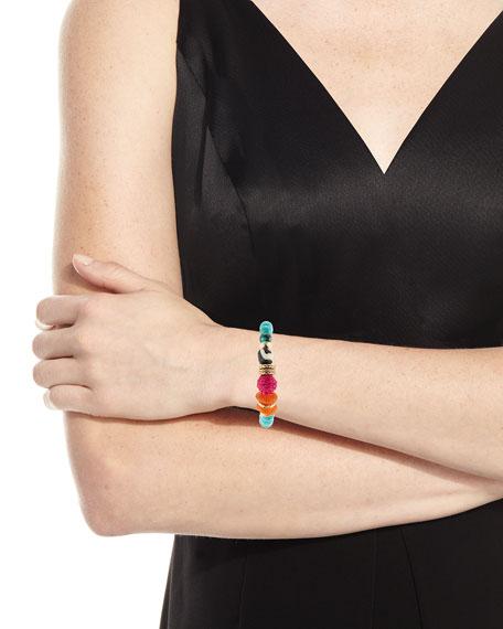 """Turquoise Howlite Beaded Bracelet, 7.25""""L"""