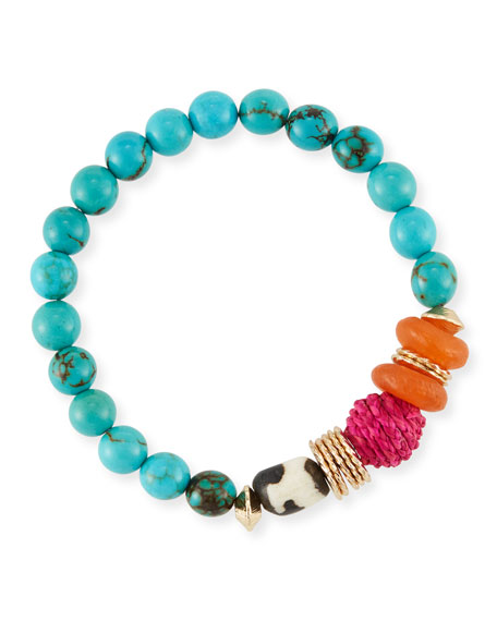 Akola Turquoise Howlite Beaded Bracelet, 7.25
