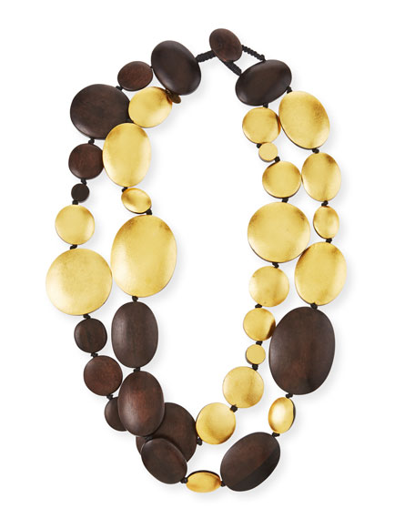 Double-Strand Golden Wood Necklace