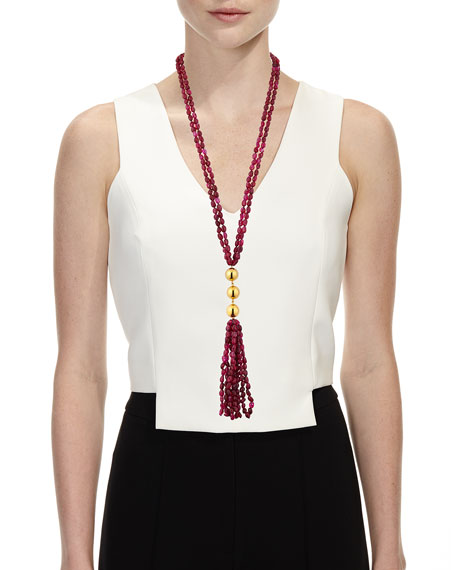 Beaded Quartz Tassel Necklace