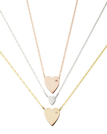 14k Small Heart Pendant Necklace w/ White Diamond