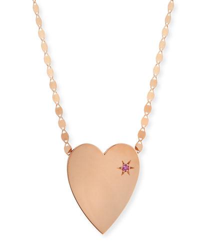 14k Large Heart Pendant Necklace w/ Pink Sapphire