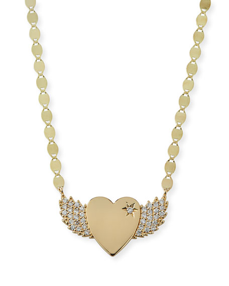 14k Small Diamond Wing Heart Pendant Necklace
