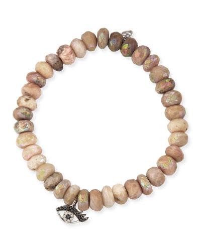 Beaded Pink Opal Bracelet with Diamond Eyelash Charm
