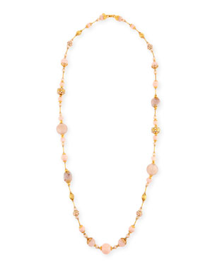 dacf207b262fac Jose & Maria Barrera Mixed Rose Quartz & Crystal Pave Long Beaded Necklace