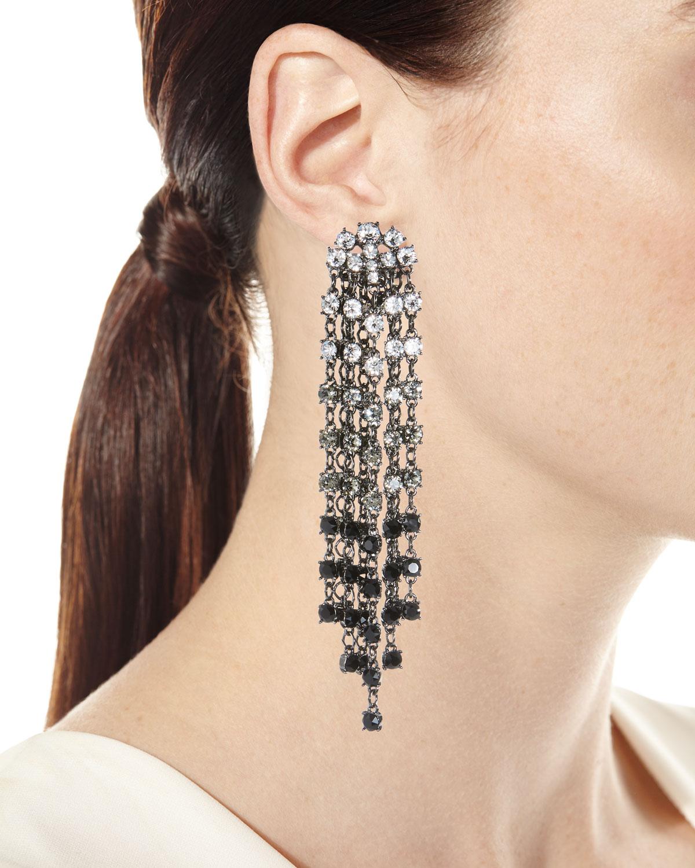 Oscar De La Renta Swarovski Crystal Cascade Waterfall Clip-On Earrings YVEVC8a6