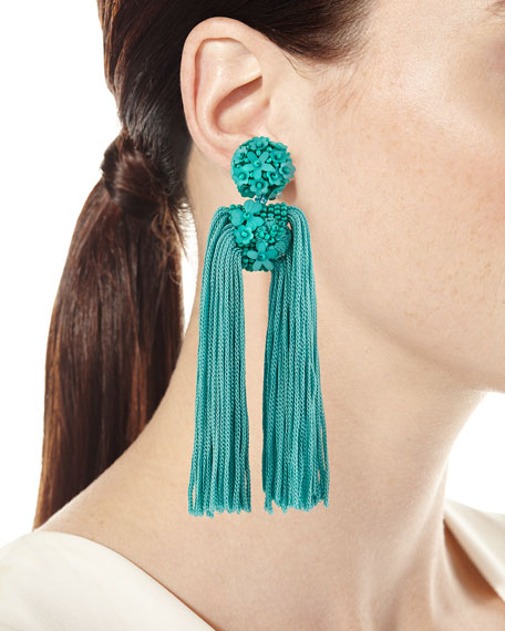 Fleur Dupios Tassel Clip-On Earrings
