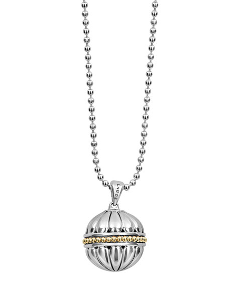 Lagos 18k Caviar?? Talisman Beaded Ball Pendant Necklace,
